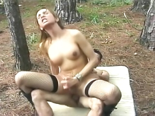 ladyman slut With dirty wazoo Sucks 10-Pounder In The Woods
