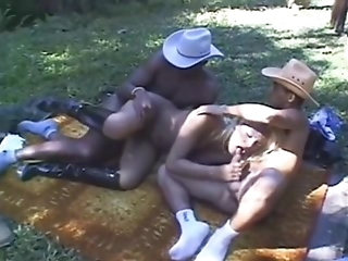 Riding a Shemale Blond shemale fucked by two black guys