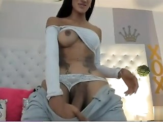 Amazing latina shemale with huge cock