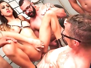 Skinny And Busty Latina Shemale Gangbang