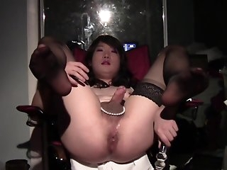 Chubby Asian CD In Stockings Shoots