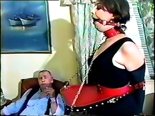 Marie, bound and gagged, dancing