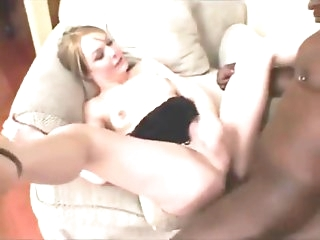 Beautiful Shemale Sucks Black Cock While white guy Fucks Her